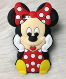 "iPhone 6/6S Plus, 6/6S, 5/5S - Polka Dot ""Wow!"" Minnie Soft Case in Red or Pink"