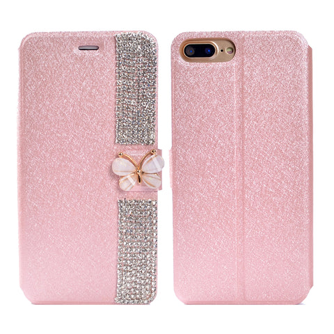 iPhone 8 Plus, 8, 7 Plus, 7, 6/S, 6/S Plus - Butterfly Brilliance Bling Tab Rhinestone Case in Assorted Colors