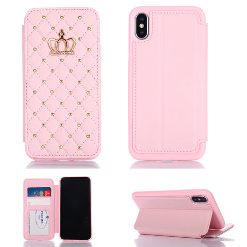 iPhone X, 8 Plus/8, 7 Plus/7, 6/S Plus/6S - Royal Crown Quilted Studded Wallet Case in Assorted Colors