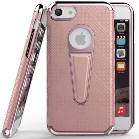 iPhone 7 Plus, 7 - Subtle Crosshatch Textured Kickstand Case in Assorted Colors