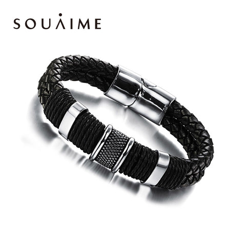 Handmade Genuine Leather Woven Double Layer Men's Bracelet