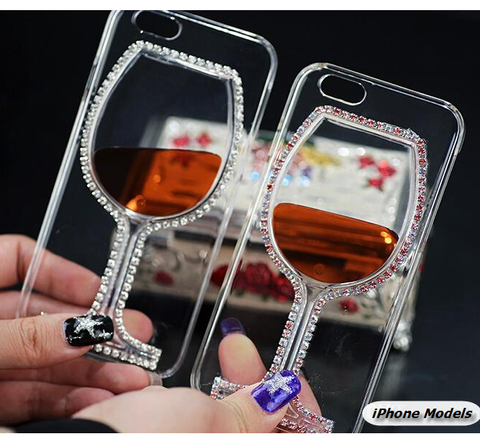 iPhone 7, 6/6S & Plus, 5/5S SE - Rhinestone Red Wine Glass Clear Case in Assorted Designs