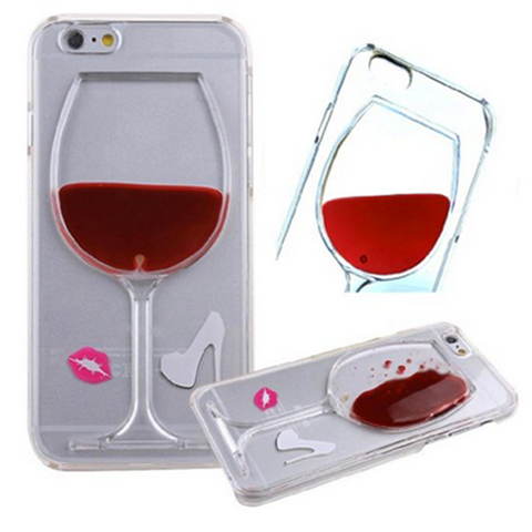 iPhone 6 Plus, 6, 5/5S, 4/4S - Red Wine Glass or Beer Clear Case in Assorted Designs