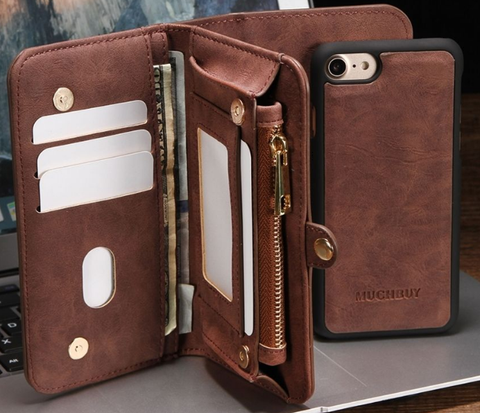 iPhone 7 Plus, 7, 6/6S Plus, 6/6S - Amazing Leather Removable Flip Wallet Case in 5 Colors