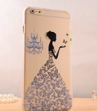 iPhone 6 - Delicate, Frosted, Rhinestone Artistic Stencil Case in Assorted Designs