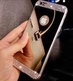 iPhone 6/6S, 6 Plus/6S Plus, SE, 5/5S - Sparkling Mirror Case with Rhinestone Borders in Assorted Colors