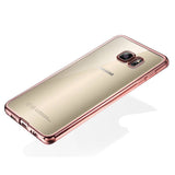 Galaxy S7 Edge - Glossy Clear Back in Rose Gold or Gold Frame Soft Case