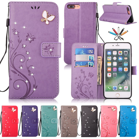 iPhone X, 8 Plus/8, 7 Plus/7 - Rhinestone Butterfly Wallet Wristlet Case in Assorted Colors