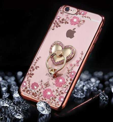 iPhone X, 8/Plus, 7/Plus, 6S/Plus, SE - Delicate Floral Rhinestone Ring Holder Case in Assorted Colors