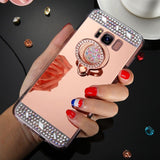 Note 9, 8, S9 Plus, S9, S8 Plus, S8, S7 - Stunning Rhinestone Border & Jeweled Ringholder Case in Assorted Colors