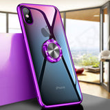 iPhone X, XS, XS Max, XR,  8 Plus/8, 7 Plus/7 - Sleek, Rhinestone Ring Holder, Glossy Case in Assorted Colors