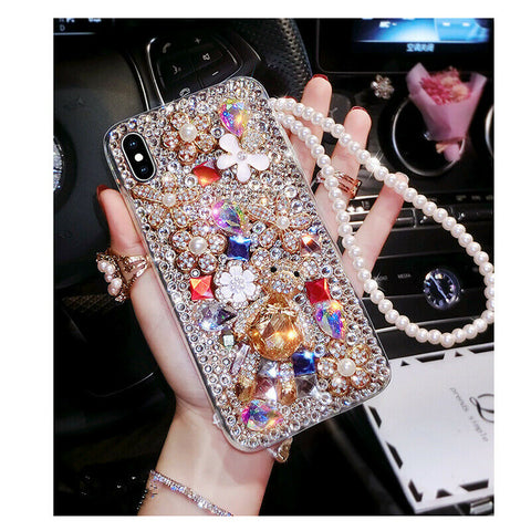 iPhones and Galaxy Phones - Sparkling Crystal Gem Bonanza  Pearl Strap Case