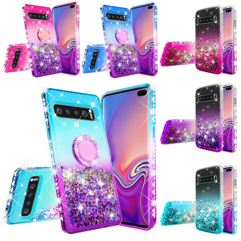 S10 Plus, S10 - Flowing Glitter Color Gradient Ring Holder Rhinestone Case in Assorted Colors