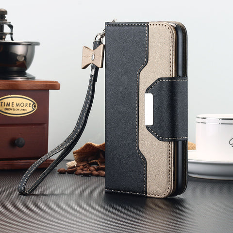 Galaxy S10, S10 Plus, S10e, S9 Plus/S9, S8 Plus/S8 - Elegant 2-Tone Flip Wallet Wristlet Case in Assorted Colors