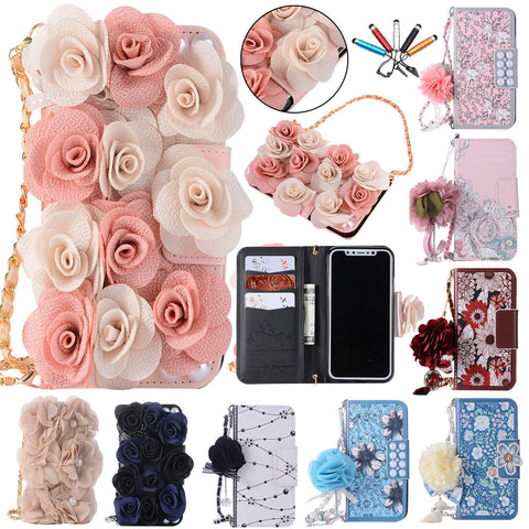 iPhone X, 8 Plus/8, 7 Plus/7, 6S Plus/6S - 3D Flower Fancy Tassel Strap in Assorted Colors