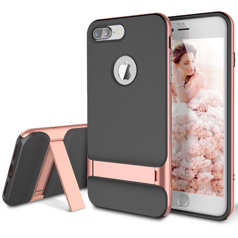 iPhone 8 Plus, 8, 7 Plus, 7- Elegant Kickstand Dual Layer Case in Assorted Colors