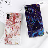 iPhone X, 8 Plus/8, 7 Plus/7, 6S Plus/6S - Glitter Gold Vein Marble Case in Assorted Colors