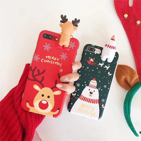 iPhone XS Max, X, XR, XS, 8 Plus, 8, 7 Plus, 7, 6/S Plus, 6/S - Adorable Reindeer or Polar Bear on Case