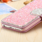 iPhone 7 Plus, 7, 6/6S /Plus - Glittering Ice Wallet Case With Bling Tab in Assorted Colors