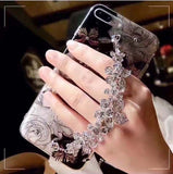 iPhone X, 8 Plus/8, 7 Plus/7, 6S Plus/6S - Evening Glitter Jeweled Wrist Strap Case