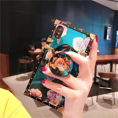 iPhone XR, X, 8 Plus/8, 7 Plus/7 - Vintage Roses Gold Rivet Optional Pop Socket Kickstand Case in Assorted Colors