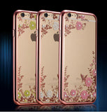 iPhone 7 Plus, 7, 6/6S Plus, 6/6S - Sweetly Subtle Flower Studded Bling Clear Case in Assorted Colors