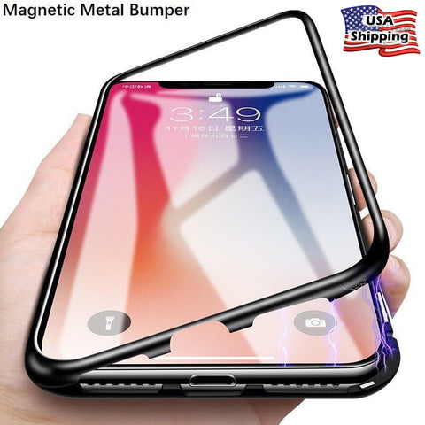 iPhone XS Max, XS, XR, X, 8 Plus/8, 7 Plus/7 -  Magnetic Lock Dual Set Back Case in Assorted Colors