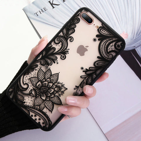 iPhone XS Max, X/XS, XR,  8 Plus/8, 7 Plus/7 - Etched Flower Transparent Case in Black or White