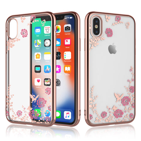 iPhone XS Max, XS, XR, X - Sweetly Subtle Flower Studded Bling Clear Case in Assorted Colors