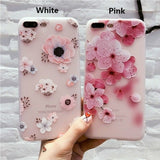 iPhone X, 8 Plus/8, 7 Plus/7, 6S Plus/6S -  Sweet Spring Flowers on Frosted Case in Assorted Colors