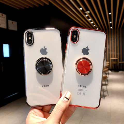 iPhone XS Max, XS, XR, X, 8 Plus, 8, 7 Plus, 7 - Simply Clear Case With Color Frame & Magnetic Ringholder in Assorted Colors