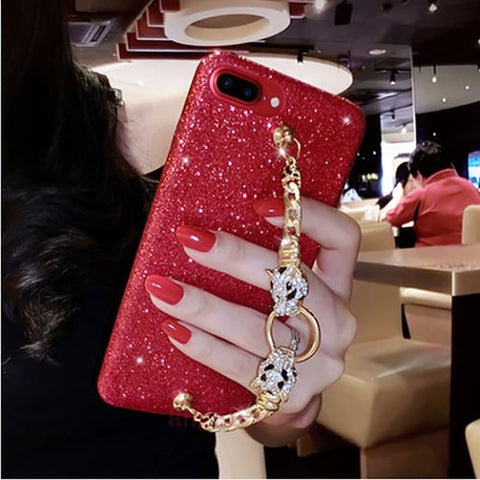 iPhone X, 8 Plus/8, 7 Plus/7, 6S Plus/6S - Sparkling Jewel Strap Case in Assorted Colors