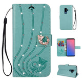 Galaxy Note 9, 8, S10 Plus/S10/S10e, S9 Plus/S9, S8 Plus/S8  - Subtle Butterfly Rhinestone Wallet Wristlet Case in Assorted Colors