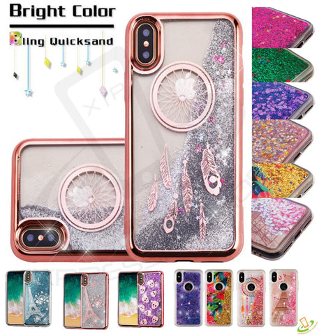 iPhone X (10) - Falling Glitter Magic With Matching Border Case in Assorted Colors