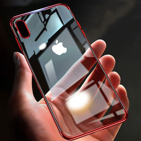 iPhone XS Max, XS, XR, X, 8 Plus, 8, 7 Plus, 7 - Touch of Color Border on Flexible Clear Case