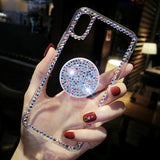 Note 9, 8, S9 Plus, S9, S8 Plus, S8, S7 - Dressy Crystal Clear With Rhinestone Border & Pop Socket Case
