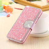 iPhone X, 8 Plus, 8, 7 Plus, 7, 6/S, 6/S Plus - Glittering Ice Wallet Case With Bling Tab in Assorted Colors