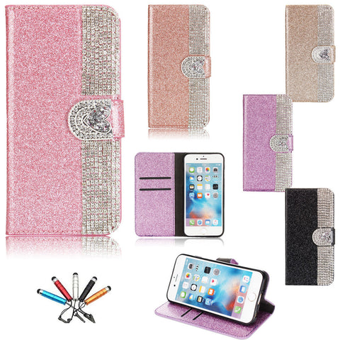 iPhone 7 Plus, 7, 6/6S & Plus, SE /5/5S - Shimmering Rhinestone Frosted Wallet Case in Assorted Colors