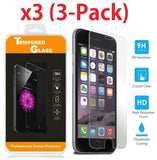 Safety Tempered Glass Film Screen Protector 3-Pack for all iPhones