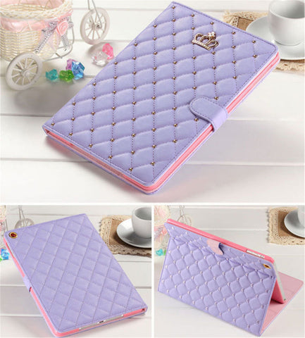 iPad 6th/5th Gen, Air 2/1, 4/3/2, Mini-ALL - Diamond Quilt, Crown Emblem Studded Case in Assorted Colors