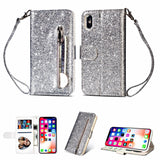 iPhone XS Max, XS, X, XR, 8 Plus/8, 7 Plus/7 - Glittering Zipper Wallet Wristlet Case in Assorted Colors