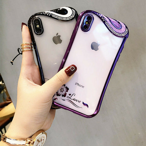iPhone XS Max, XS, XR, X, 8 Plus/8, 7 Plus/7, 6 Plus/6 - Swirl Bling Clear Case in Assorted Colors