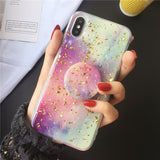 iPhone XS Max, X, XR, XS, 8 Plus, 8, 7 Plus, 7 - Rainbow Marbled Glitter Chips Pop Socket KickStand Case in Assorted Colors