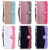 iPhone XS Max, XS, X, XR, 8 Plus/8, 7 Plus/7 - Rhinestone Pearl Studded Wallet Wristlet Case