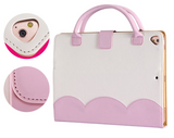 iPad 6th/5th Gen, 4/3/2, Air 2/1, Mini - Adorable Two Tone Bow Purse Case in Assorted Colors