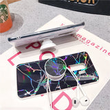 Note 9, 8, S9 Plus, S9, S8 Plus, S8, S7 - Rainbow Marbled Pop Socket Kickstand Case in Assorted Colors