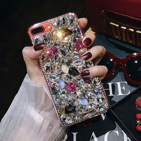 iPhone X, 8 Plus/8, 7 Plus/7, 6S Plus/6S - Luxurious Chunky Gems Case in Assorted Colors