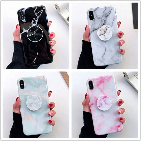 iPhone XS Max, XR, XS/X - Soothing Marble Pop Socket Kickstand Case in Assorted Colors
