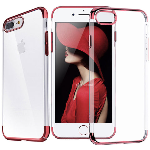 best service 0dcfc 81ced iPhone 8 Plus, 8, 7 Plus, 7 - Sleek, Thin Clear Case With Glossy Borders in  Assorted Colors