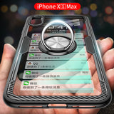 iPhone XS Max, XS/X, XR - Sleek Ring Holder Clear Case in Assorted Frame Colors
